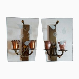 Mid-Century Italian Glass and Copper Wall Sconces, Set of 2
