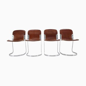 Italian Leather Dining Chairs by Willy Rizzo for Cidue, 1970s, Set of 4