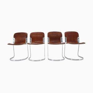 Italienische Leder Esszimmerstühle von Willy Rizzo für Cidue, 1970er, 4er Set