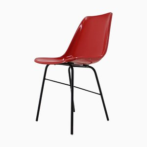 Red Fiberglass Dining or Desk Chair, Czechoslovakia, 1960s