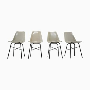 Mid-Century Fiberglass Dining Chairs, Czechoslovakia, 1960s, Set of 4