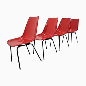 Rote Mid-Century Fiberglas Esszimmerstühle, Tschechoslowakei, 1960er, 4er Set