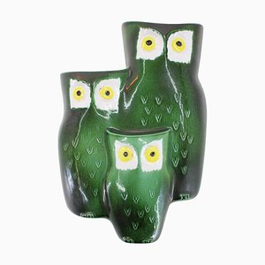 Mid-Century Design Ceramic Wall Decoration, Owl Family