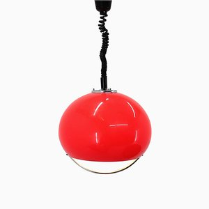 Suspension Mid-Century Rouge par Harvey Guzzini pour Meblo, 1970s