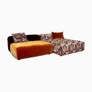 Orange & Purple Patterned Velvet Drop City Modular Corner Sofa from Bretz