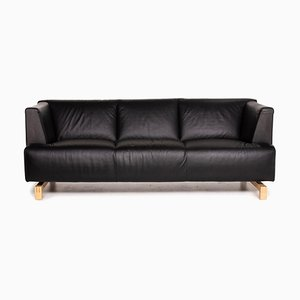 Black Leather 3-Seat Sofa from Leolux