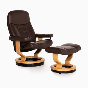 Dark Brown Leather Consul Armchair & Stool from Stressless, Set of 2