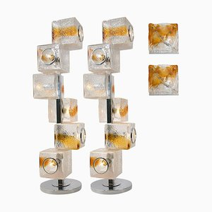 Sconces & Floor or Table Lamps from Mazzega and Veart, Set of 4