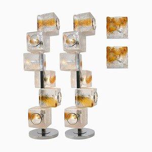 Wandlampen oder Stehlampen von Mazzega und Veart, 4er Set
