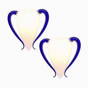 Große blaue Wandleuchten in Opalglas-Optik von Barovier E Toso, 1970er, 2er Set