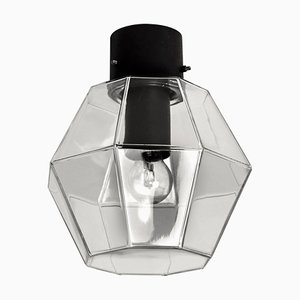 Geometric Glass and Cast Iron Outdoor or Indoor Flush Mount Light from Limburg