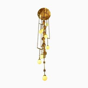 Handgemachte Kaskaden-Deckenlampe aus Messing und Glas im Art Deco Stil