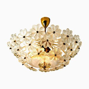 Floral Glass and Brass Flush Mount Chandelier by Ernst Palme, 1970s