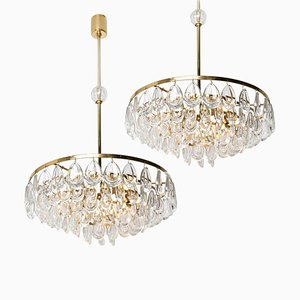 Gilded Brass and Faceted Crystal Chandelier from Palwa, 1960s