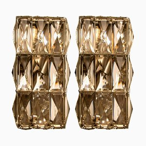 Wall Light Fixtures in Chrome-plated Crystal Glass from Palwa, 1970, Set of 2