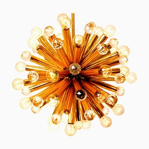 Gilt Brass Pendant Lamp with Swarovski Balls by Ernst Palme, 1960s