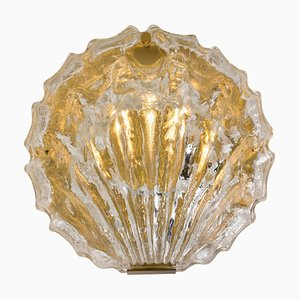Golden Ice Glass Shell Wall Sconce from Kalmar, 1960s