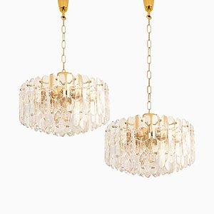 Große Palazzo Deckenlampe aus vergoldetem Messing & Glas von JT Kalmar