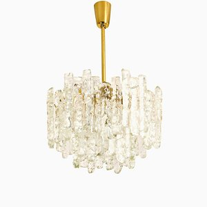 Brass and Ice Glass Pendant Chandelier from Kalmar, 1970s