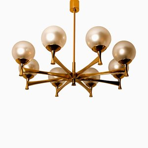 Chandelier with Opaline Brass in the Style of Sciolari
