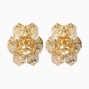 Vergoldete Facettierte Kristallglas Wandlampen von Kinkeldey, 2er Set