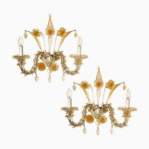 Venezianische Murano Wandlampen, 1960er, 2er Set
