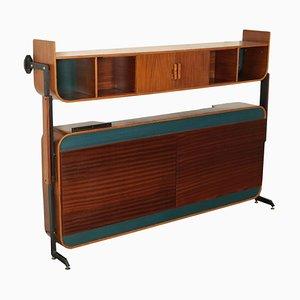 Formica, Mahogany Veneer & Metal Foldaway Bed from Franco Campo, Italy, 1960s