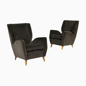 Velvet & Wood Armchairs, Italy, 1950s, Set of 2