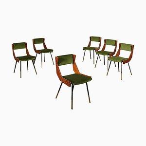Mahogany, Brass & Velvet Dining Chairs, Italy, 1950s, Set of 6