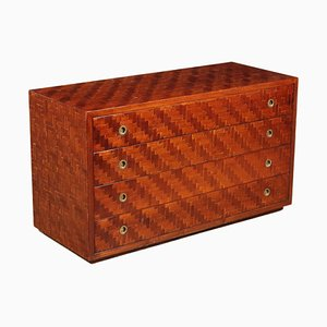 Stained Bamboo & Brass Chest of Drawers, Italy, 1980s