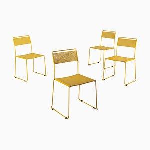 Emaillierte Esszimmerstühle aus Metall, Italien 1970er, 4er Set