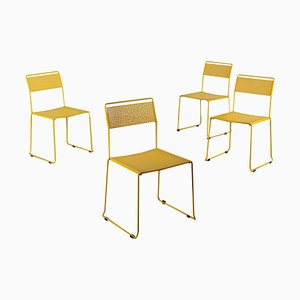 Enamelled Metal Dining Chairs, Italy 1970s, Set of 4