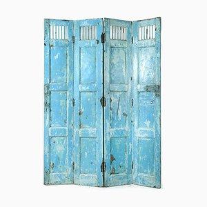 Klappbarer Raumteiler aus Blauem Holz mit 4 Blättern