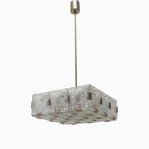 Lampe à Suspension Vintage en Verre et Acier Chromé de Kamenický Šenov, 1970s