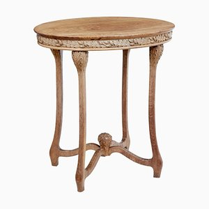 Late 19th Century Art Nouveau Oval Carved Oak Side Table