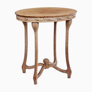 Ovaler Beistelltisch aus geschnitztem Eichenholz im Jugendstil, 19. Jh