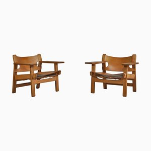 Danish Modern No. 2226 Spanish Chairs in Oak and Saddle Leather by Børge Mogensen, Set of 2