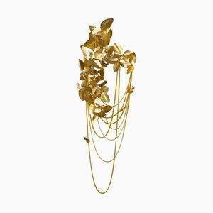 Wandlampe aus vergoldetem Messing mit bernsteingelben Swarovski-Kristallen