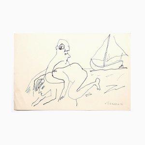 Mino Maccari, Figuren, 1970er, Zeichnung auf Papier