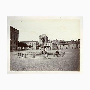 Francesco Sidoli, Piazza Barberini, Late 19th-Century, Print on Cardboard