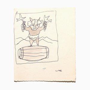 Mino Maccari, Bacchus, Mid-20th-Century, Pen and Watercolor on Paper