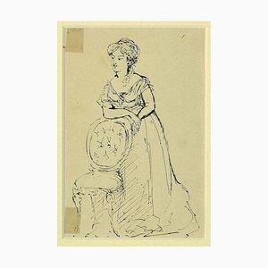 Unknown - Weibliche Figur mit Langem Kleid - Original China Ink on Paper - 1870er