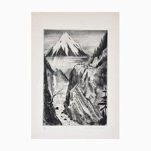 Camille Quesneville - Waterfall - Original Radierung auf Papier - Mitte des 20. Jahrhunderts