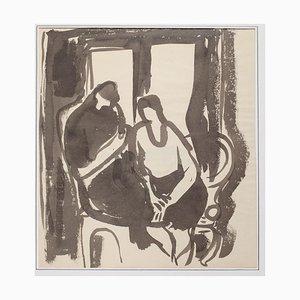 Herta Hausmann, The Couple, Aquarell auf Papier, 20. Jahrhundert