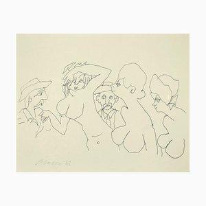 Mino Maccari, The Models, Pen on Paper, 1980s