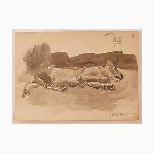 Raymond Cazanove, The Dog, Acquarello su carta, metà XX secolo