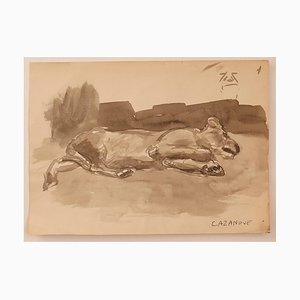 Raymond Cazanove, The Dog, Watercolor on Paper, Mid-20th Century