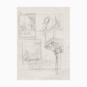 Gabriele Galantara, Schreibtisch für den Esel, Bleistiftzeichnung, 1937