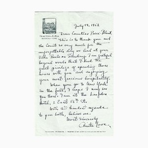 Anita Loos, Autographed Letter, 1952