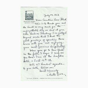 Lettera di Anita Loos, autografata, 1952